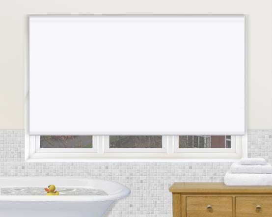 White Roller Blinds : Aqua white roller blinds in a waterproof blackout