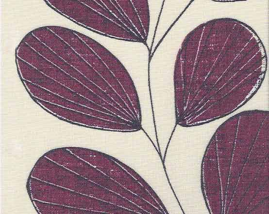 Purple Roller Shades : Aubergine leaf patterned roller blinds in shades of purple