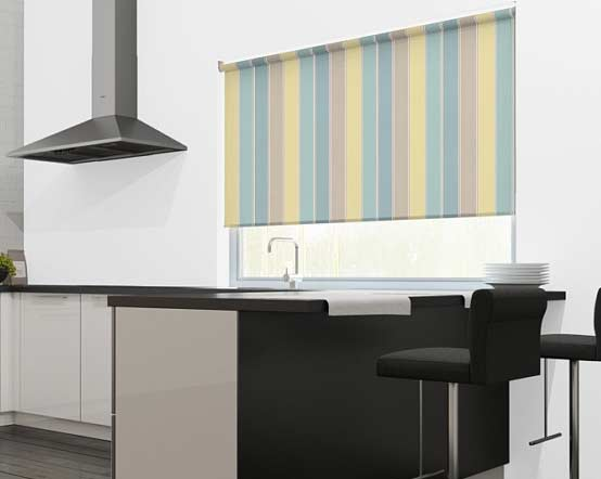 Duck Egg Circus Stripe Blue Yellow Beige Striped Roller Blinds