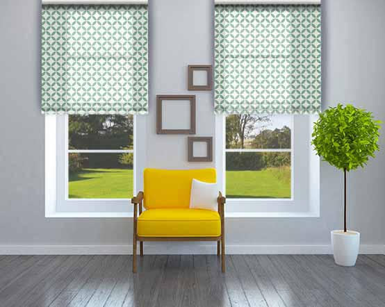 Alhambra Mineral Roller Blind With Sage Green Geometric