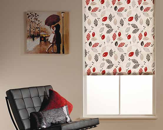 Fronds Charcoal Ruby Cream Roller Blind With Red Grey Leaves