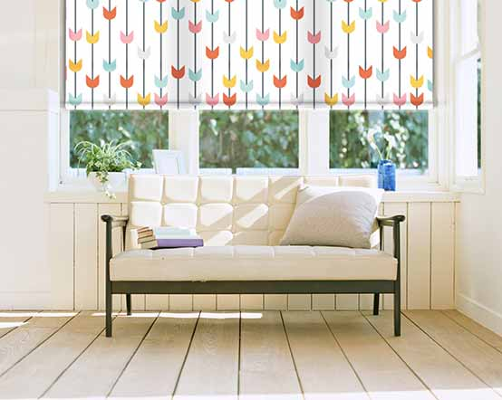 Linnea Pure Roller Blind With Multi Coloured Tulip Print