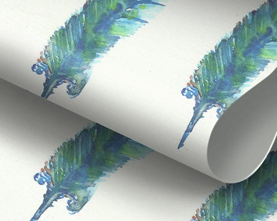 Pluma Peacock Solar Reflective Roller Blind With Feather
